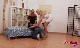 Burglar gets his ass and cock punished by two hot blondes
