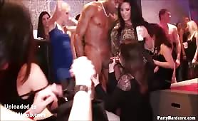 Sucking big cock at cfnm party