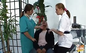 Female dentist and her nurse discover patient has a small cock