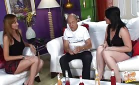 Embarrassed guy has to show his tiny penis off in front of two women