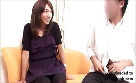 Japanese girl watching guy jerkoff and cum