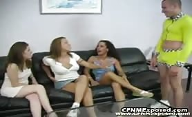 Three Girls Share One Guy's Cock