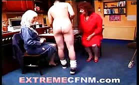Two grannies play with naked man