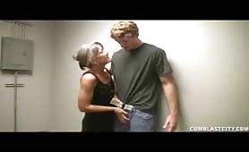 Granny jerks a big cock
