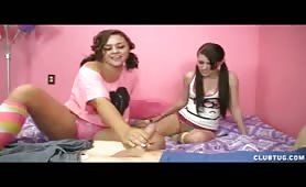Kaci and Ashley Teen Jerk Job