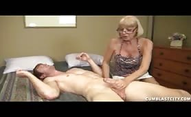 Granny Sucks Dick and Gets A Massive Facial