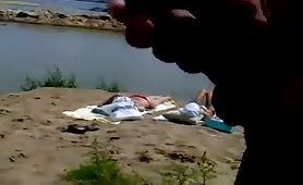 Public beach jerkoff
