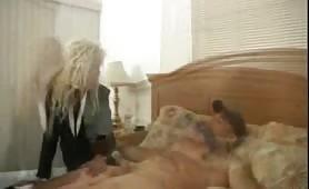 Jerky wife masturbates husband