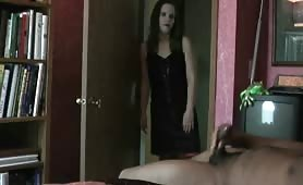 Goth chick watches guys jerkoff