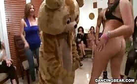 Dancing bear CFNM strippers