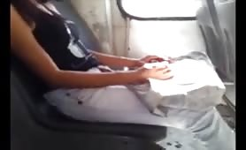 Bus flash goes handjob