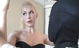 Hot blonde mistress whips slave