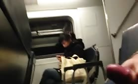 Flash and cum on train compilation