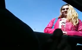 Car flash handjob cumshot