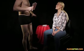 His cock grows hard and bobs up and down making her laugh