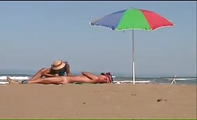 Granny's CFNM beach blowjob and handjob