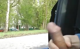 Public cock stroking and flashing