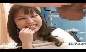 Cute Asian girl gets a dickshow (subtitled)