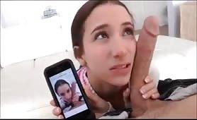 Teen takes a big cock selfie