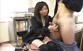 Jerked off by a sweet Asian slut