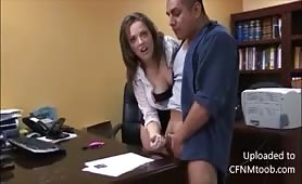 Boss cfnm handjob causes massive cumshot