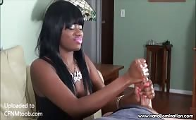 Black Barbie CFNM Handjob