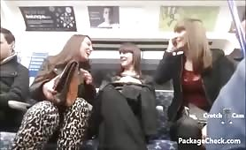 3 ladies discuss crotch bulge on train