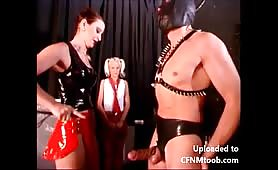 Mistress with 2 slaves upside down cumshot