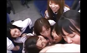 Japanese college girls reverse gangbang bus driver