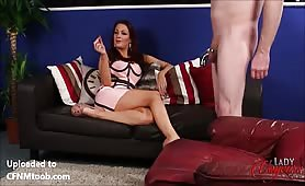 Shooting cum as she laughs and humiliates him