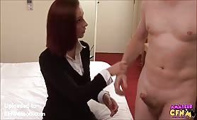 Edging him until finally she lets him cum