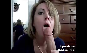 Amateur mom sucks dick fully clothed