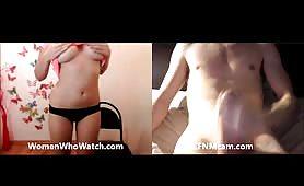 Cumshot for shy girl on cfnmcam
