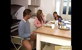 Jerking off for Mom and Sis in kitchen