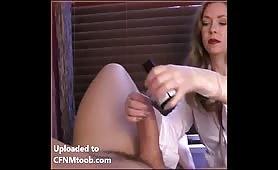Mistress T jerking off a fat cock