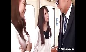 Asian babes cfnm domination on train