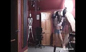 Ballbusting cowgirl and friend crush his balls