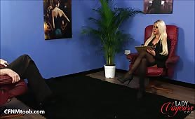 His cock grows hard while she just stares