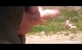 Beach dickflash and cumshot for woman