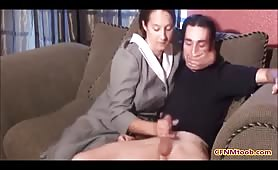 Mom strokes his cock