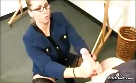Stacie takes huge CFNM cum blast