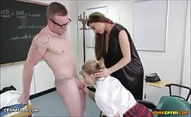 CFNM classroom handjob