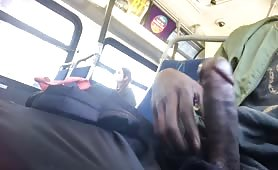Jerkoff and cum on bus
