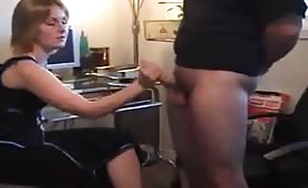 Blonde wife CFNM handjob