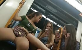 Bulge flashing teens on train