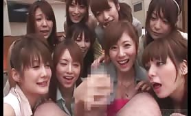 Asian group cfnm handjob compilation