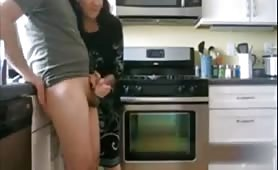Wife handjob big cumshot in kitchen