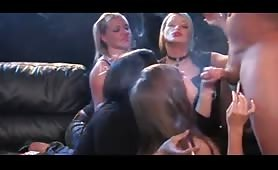 Four hot women vs one lucky cock
