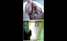 Girls having fun with flashing guy on cam