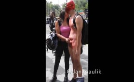 Handjob cum in the street